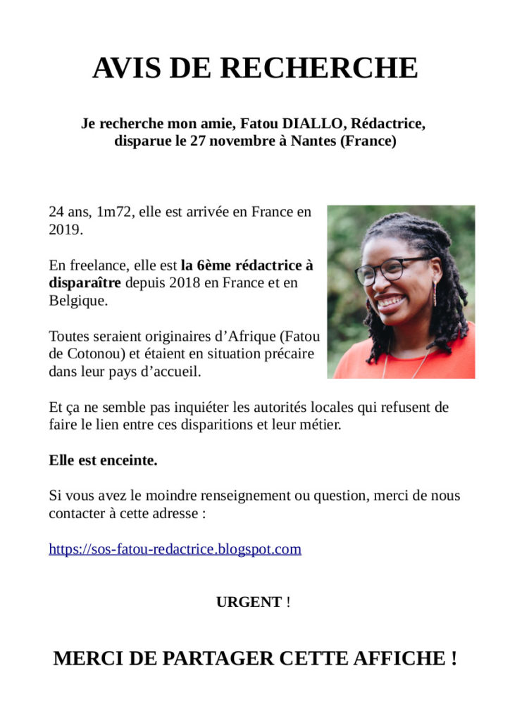 Avis de recherche: Fatou DIALLO, rédactrice web à Nantes